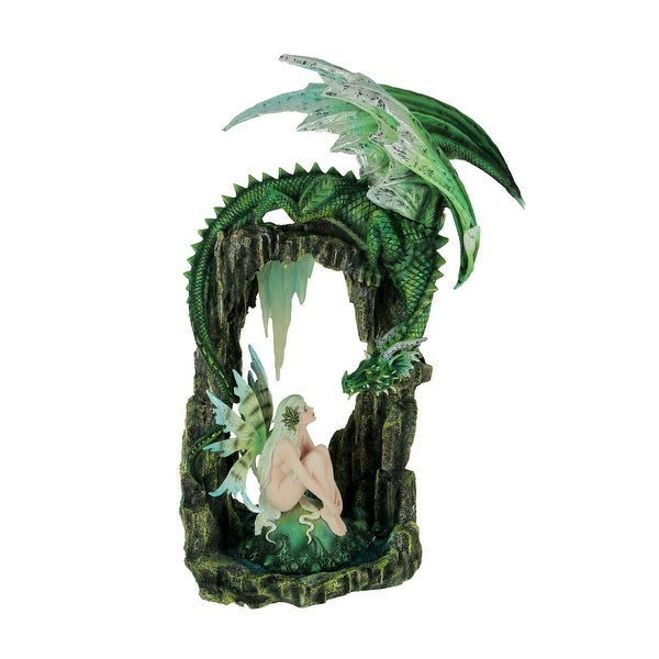 Green Forest Fairy and Dragon at Stone Arch Statue - 20.75 X 12.5 X 10.25 inches