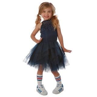 Ooh! La La! Couture Girls Navy Rhinestone Adorned Carrie Tutu Dress