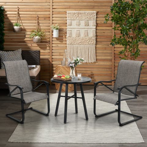 PHI VILLA 3 Piece Outdoor Bistro Dining Table Set, Round Slatted Metal Table & 2 Spring Motion Chairs