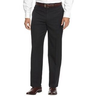 Alfani Black Label Regular Fit Tonal Striped Dress Pants Black 32W x 32L