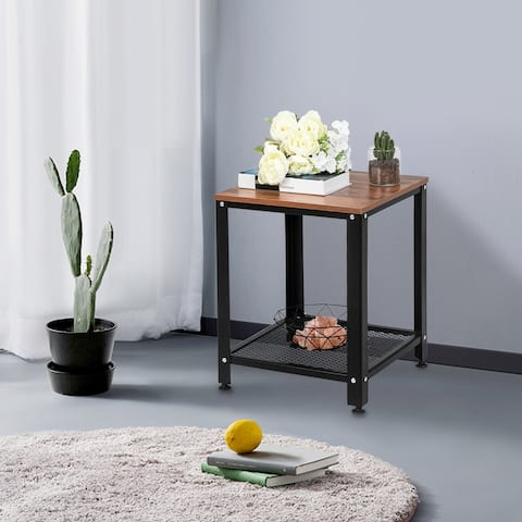 Home Furniture Small Stylish Steel And Wooden 2-Layer Side Table