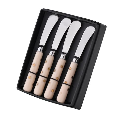 A&B Home Alice Silver and Ivory Spreaders in Box (Set of 4)