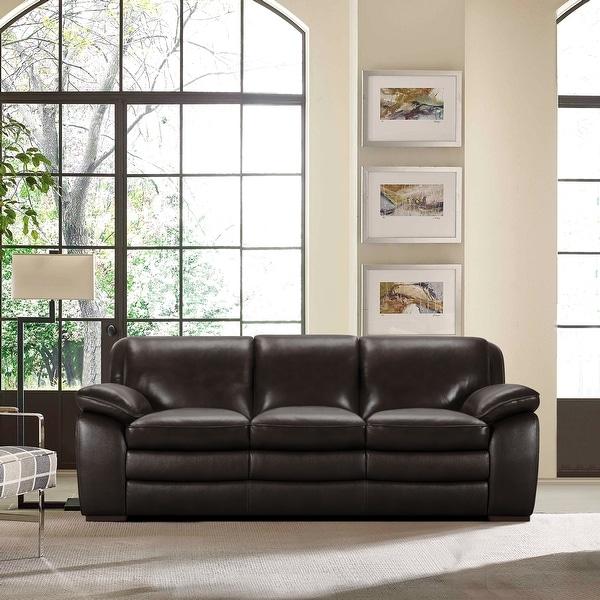 Armen Living Zanna Contemporary Sofa In Genuine Dark Brown Leather - On Sale - Overstock - 19556358
