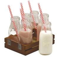 Circleware Dairy Farm Set of 6 Glass Milk Bottles/Drinking Glasses with Wooden Tray and Strong Reusable Straws.