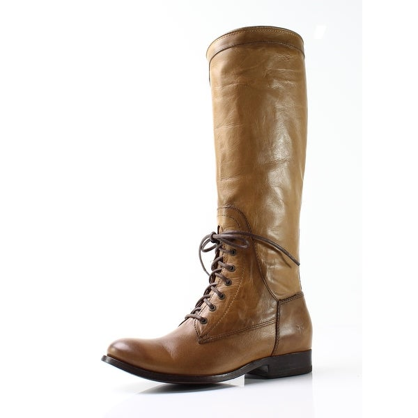 Frye NEW Beige Women Shoes Size 5.5M Melissa Riding Lace-Up Boot