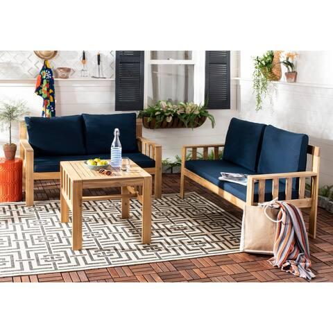 Safavieh Outdoor Living Lardner 3 Pc Living Set - Teak Brown / Navy
