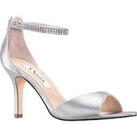 dcfab3b87ab Shop Nina Women s Deena Ankle Strap Stiletto Sandal Silver Metallic ...