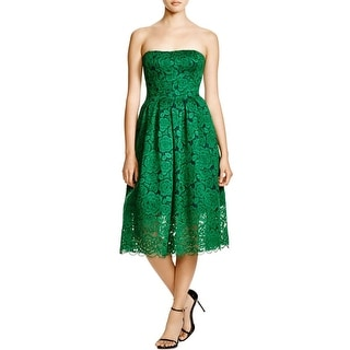 Vera Wang Womens Party Dress Lace Midi