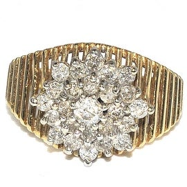 1cttww Diamond Cluster Wedding Ring 14K Yellow Gold 13mm Wide(I Color 1cttw)