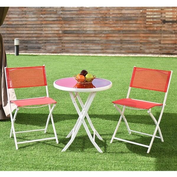 Costway 3 PCS Folding Bistro Table Chairs Set Garden Backyard Patio Furniture Red