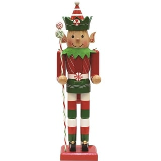 "15"" Peppermint Twist Red  White and Green Wooden Christmas Elf Nutcracker"