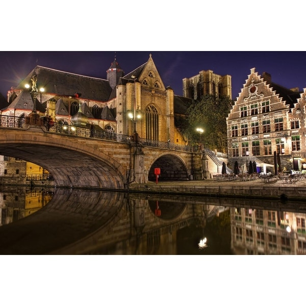 "LED Lighted Famous St. Michael's Bridge and Church in Ghent Belgium Canvas Wall Art 15.75"" x 23.5"""