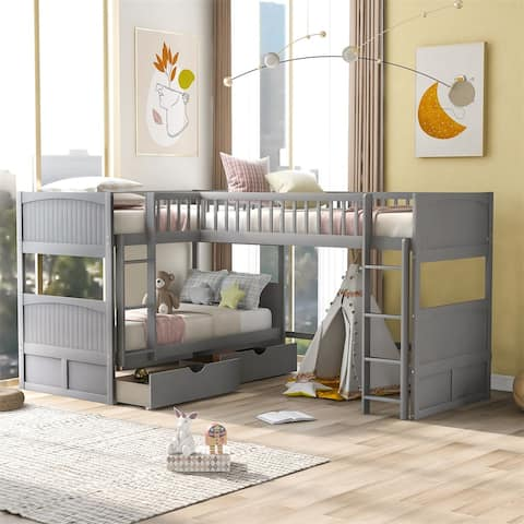 Merax Twin L-shaped Bed Bunk bed with a loft bed attached