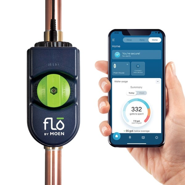 """Moen 900-006 Flo By Moen 1"""" Smart Home Water Security System With - Blue. Opens flyout."""