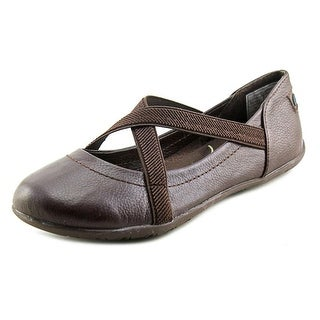 NoSox Prima Women  Round Toe Leather Brown Ballet Flats