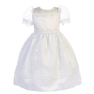 Angels Garment Little Girls White Satin Organza Baptism Flower Girl Dress