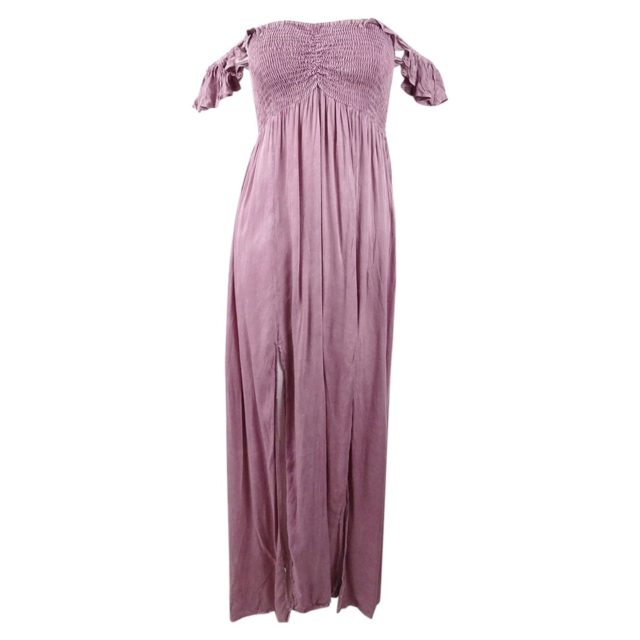 Raviya Womens Off-The-Shoulder Ruffled Maxi Cover-Up Dress