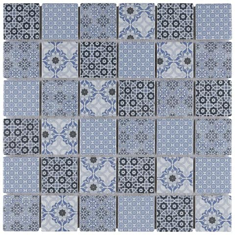 SomerTile Classico Blue 11-3/4 in. x 11-3/4 in. x 7 mm Porcelain Mosaic Tile (10 Tiles/9.97 sqft.)