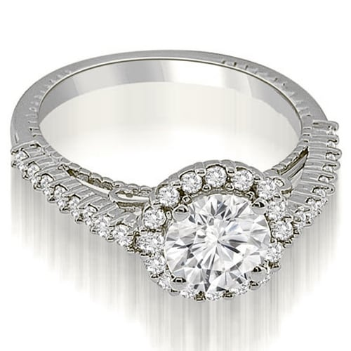 1.45 cttw. 14K White Gold Antique Style Halo Round Cut Diamond Engagement Ring