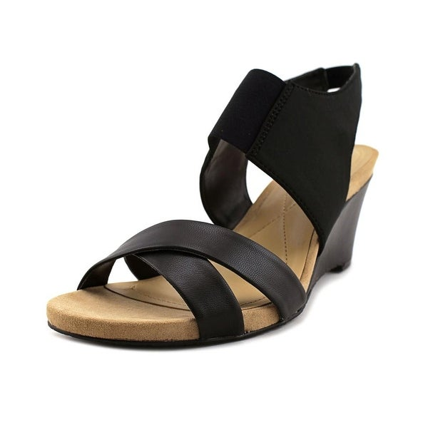 Alfani Tmonah Women Open Toe Leather Black Wedge Sandal