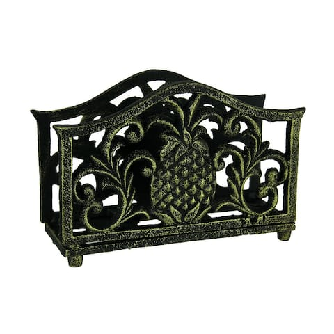 Black Gold Tropical Pineapple Cast Iron Napkin Holder - 4.5 X 6.5 X 2.25 inches