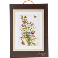 """LanArte Field Flowers On Cotton Counted Cross Stitch Kit-12.25""""X18.5"""" 27 Count"""