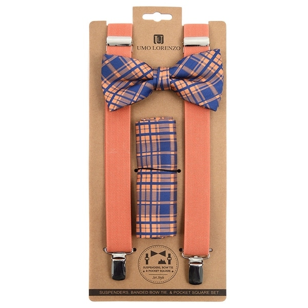 3pc Men's Peach Banded Suspenders, Plaid Bow Tie and Hanky Sets - One Size Fits most