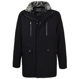 Link to Men's Wool Blend Coat with 4 Front Pockets and Removable Collar Similar Items in Men's Outerwear