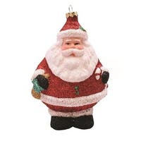 "5"" Merry & Bright Red, White and Black Glittered Shatterproof Santa Claus Christmas Ornament"
