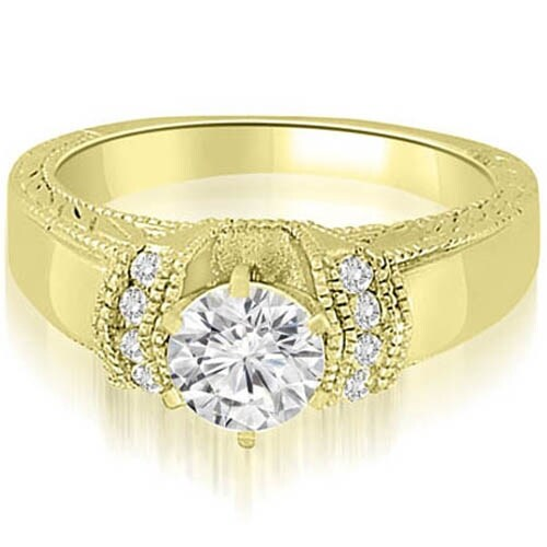 1.10 cttw. 14K Yellow Gold Antique Style Cathedral Round Diamond Engagement Ring