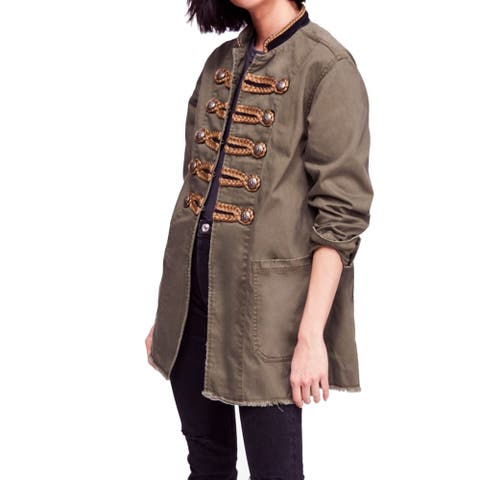 Free People Women's Military Jacket Green Size XS Shimmer Cotton