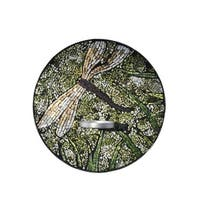 """12"""" Green and White Glossy Finished Decorative Dragonfly Mosaic Candle Holder"""