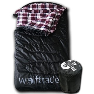 Wolftraders LoneWolf +0 Degree Fahrenheit Oversized Premium Comfort Ripstop Sleeping Bag, Black/Purple