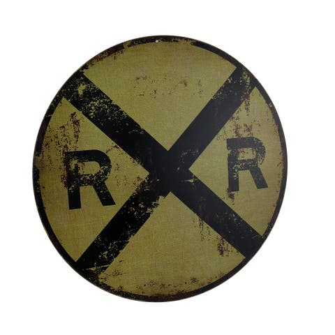 Vintage Finish Round RR Railroad Crossing Sign 12 Inch - 12 X 12 X 0.13 inches