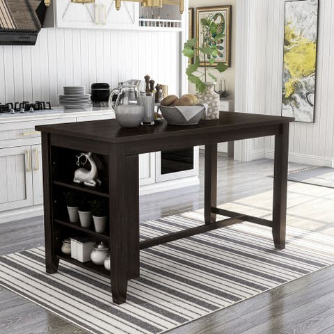 Furniture of America Blye Rustic Grey Solid Wood Counter Height Table