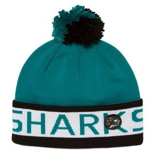 Mitchell & Ness San Jose Sharks Black/Teal Beanie w/ Pom + Pin