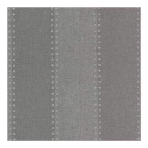 Cullen Charcoal Nailhead Stripe Wallpaper - 324in x 27in 0.25in