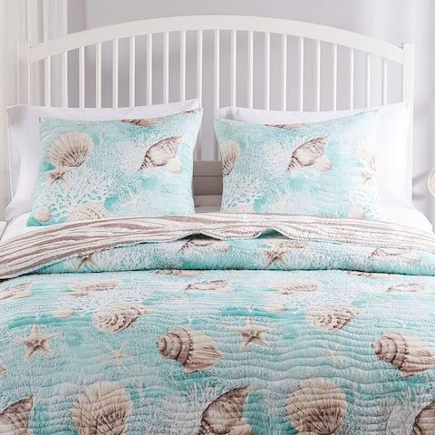 Barefoot Bungalow Ocean Turquoise Reversible Pillow Shams (Set of 2)