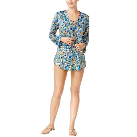 Bar III Women's Monarchy Printed Lace-up Tunic Cover-Up (Cool Multi, S) - Small