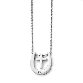 Chisel Stainless Steel Polished Cross/Horseshoe with Crystal Accent Necklace - 18 in