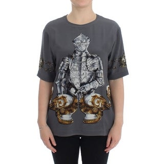 Dolce & Gabbana Dolce & Gabbana Gray Knight Crown Print Silk Blouse Top - it42-m