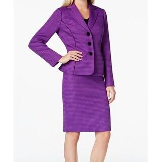 Le Suit NEW Dark Purple Piped Tweed Women's Size 8 Skirt Suit Set
