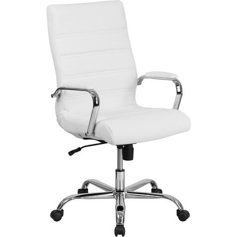 Alexandria Bay High Back White Leather Stylish Executive Swivel Chair w/Chrome Base & Arms