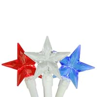 Set of 30 Red, White & Blue 4th of July Patriotic LED Star Lights - White Wire