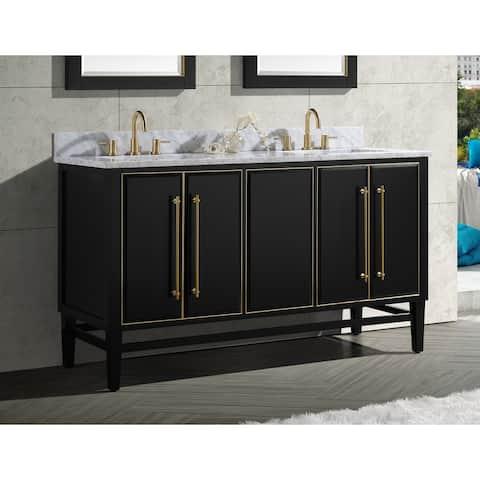 Avanity Mason Black Fiish 60-inch Double Bathroom Vanity Cabinet Only