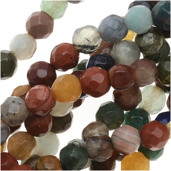 Gemstone Bead Lot Dark Mix 4mm Faceted Round Beads - 15.5 Inch Strand