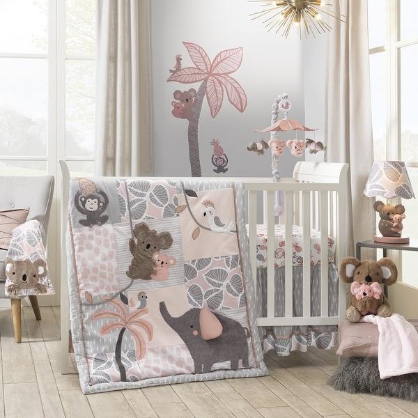 Lambs & Ivy Calypso Pink/Gray Koala, Elephant & Monkey Nursery 4-Piece Baby Crib Bedding Set