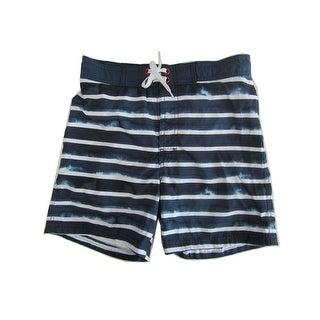 Jake Austin Boys Navy Blue White Stripe Pattern Swimwear Shorts