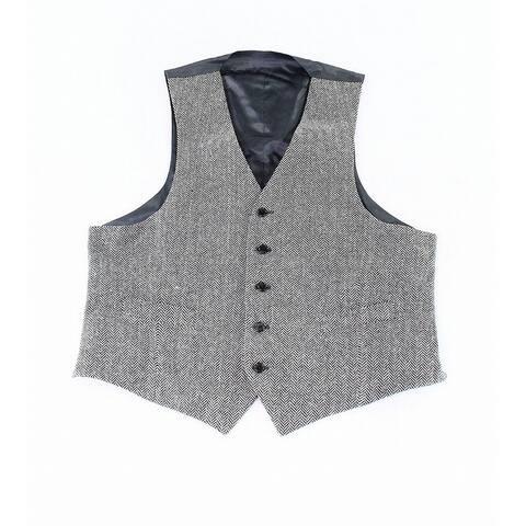 Lauren By Ralph Lauren Mens Vest Black Size Small S Chevron Five-Button