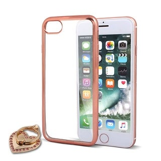 Protective Phone Case Cover Rose Gold Tone w Ring Holder for iPhone 7